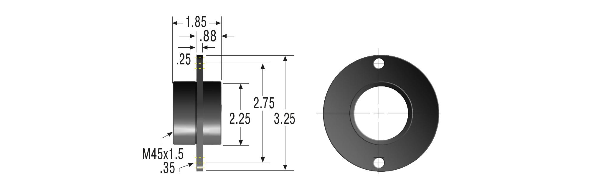 Flansch mit integrierter Anschlaghülse M45x1,5 für MC45, MA45, ML45