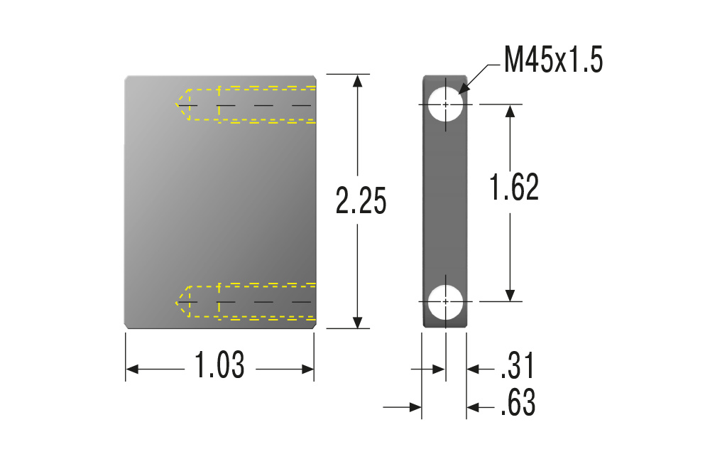 Festanschlag M45x1,5 für MA45M,ML45M,MC45M