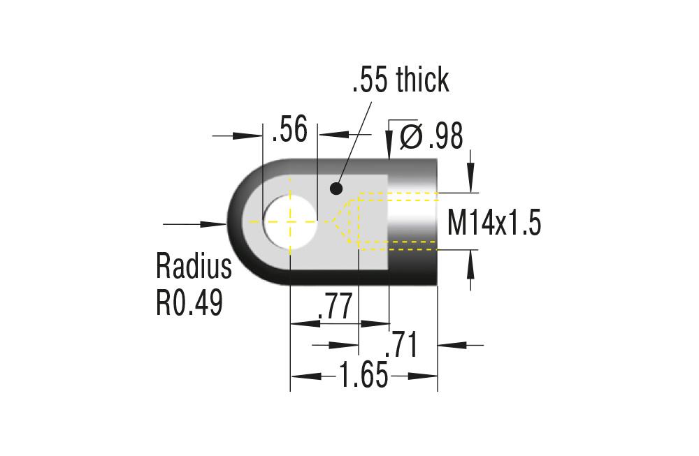 Gelenkauge M14x1,5 in Edelstahl V2A ***maximale Belastung 7000N***