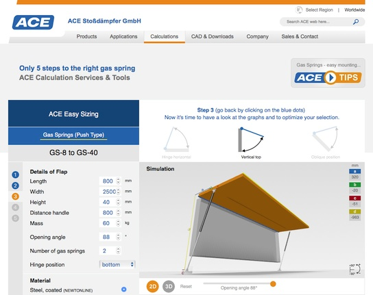 ACE gas spring calculation tool